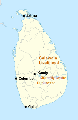 map of Sri Lanka showing location of projects