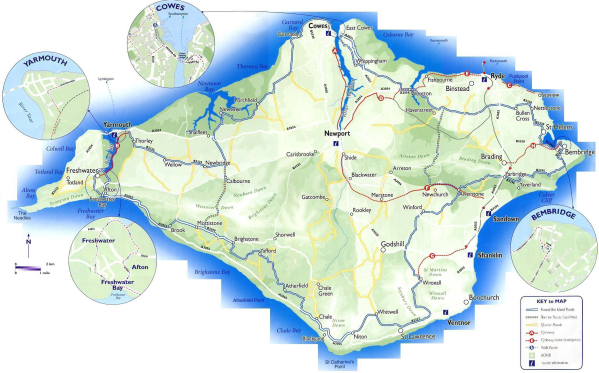 Small map of route round the Isle of Wight