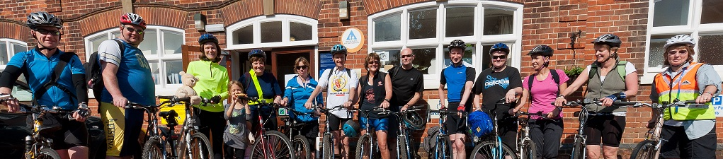Participants in the 2011 bike ride outside Wells next the Sea Youth Hostel