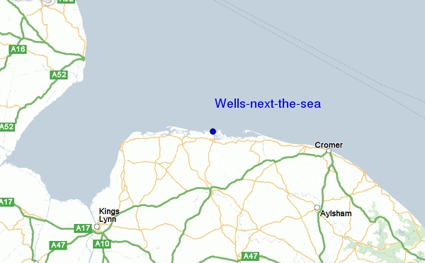 Map showing the location of Wells next the Sea