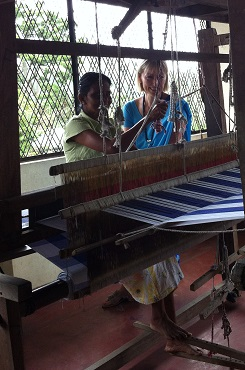 Visiting a weaver